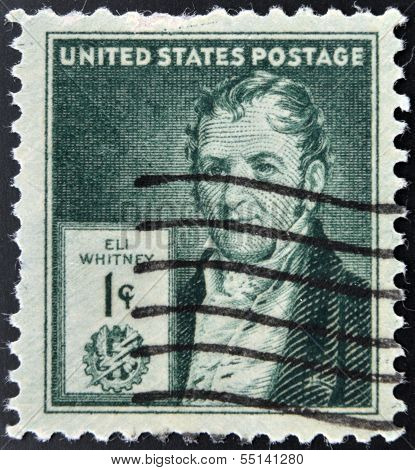 UNITED STATS OF AMERICA - CIRCA 1940: A stamp printed in USA shows Eli Whitney