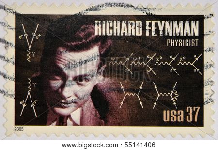UNITED STATES OF AMERICA - CIRCA 2005: A stamp printed in USA shows Richard Feynman physicist
