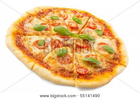 sliced margerita pizza isolated on white background