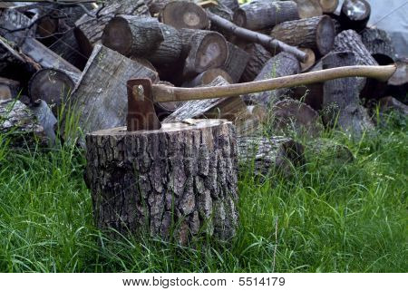 Axe Chopping Wood