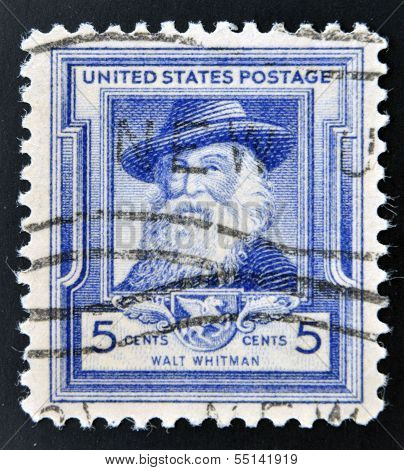 UNITED STATES OF AMERICA - CIRCA 1940: A stamp printed in USA shows Walt Whitman circa 1940