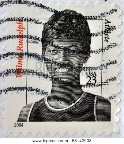 UNITED STATES OF AMERICA - CIRCA 2004: A stamp printed in USA shows image of Wilma Rudolph