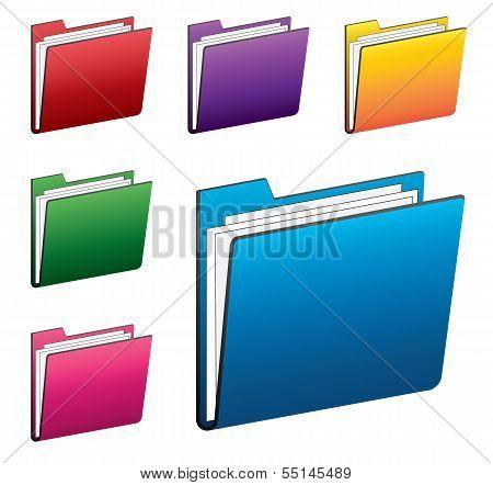 Colorful folder icons set