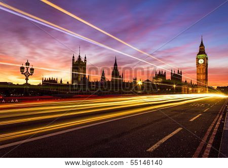 Westminster and a light trail