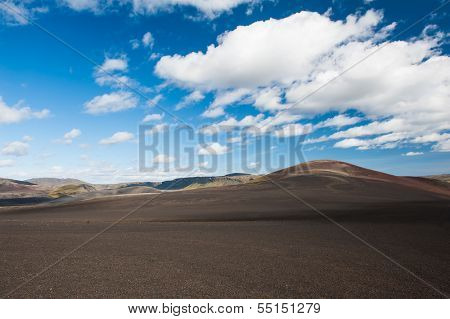 Panoramic landscape at Lakagigar, volcanic area with approx. 130 craters around the volcano Laki, southern Iceland