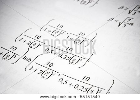 Mathematical Formulas And Calculations. Math Education Concept.