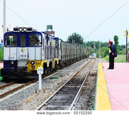 Station duty officer meets the freight train.
