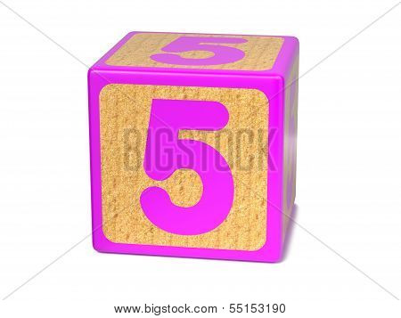 Number 5 - Childrens Alphabet Block.
