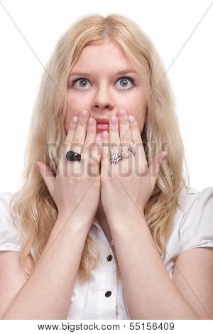 Pretty Woman With Hands Over Mouth