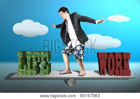Businessman With Suit, Shorts And Beach Shoes Surfing On Seesaw With Life And Work Balance Concept
