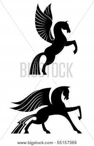 Two Black Winged Horses