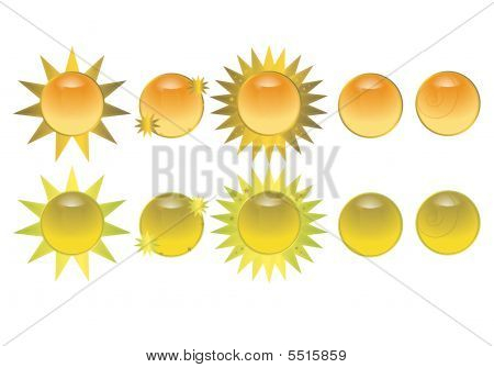 Orange Sun Icon Buttons
