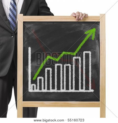 Businessman Hold Dirty Wooden Chalk Board With Going Up Trend And Histogram And Erased Going Down Tr