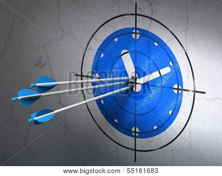 Timeline concept: arrows in Clock target on wall background