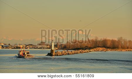 South Arm Of The Fraser River At Sunset