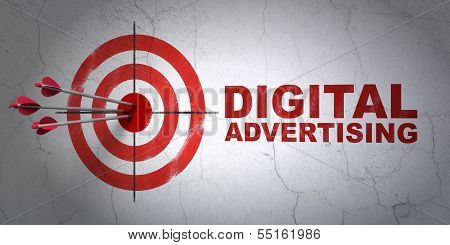 Marketing concept: target and Digital Advertising on wall background