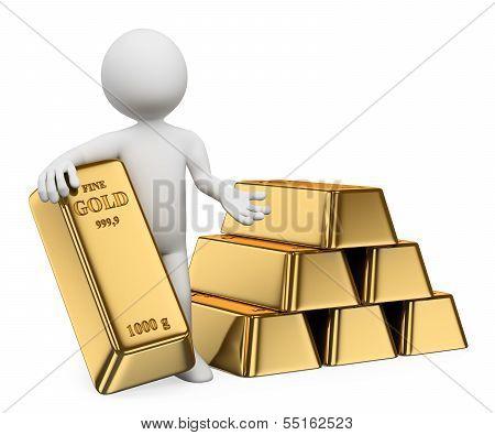 3D White People. Gold Ingots. Bullion