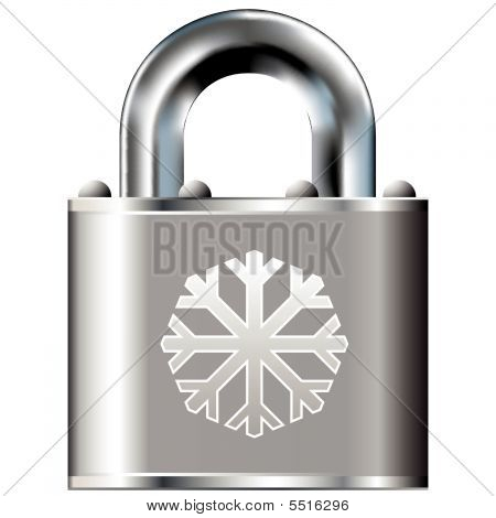 Snowflake Icon On Vector Lock