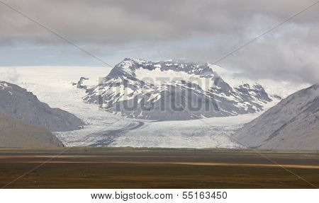 Iceland. Southeast Area. Heinabergsjokull Glacier And Field.