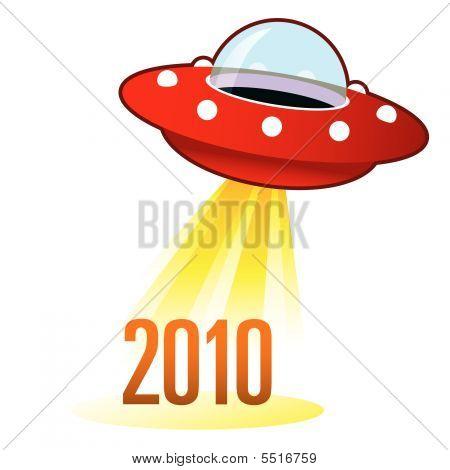 2010 Year Icon On Retro Ufo