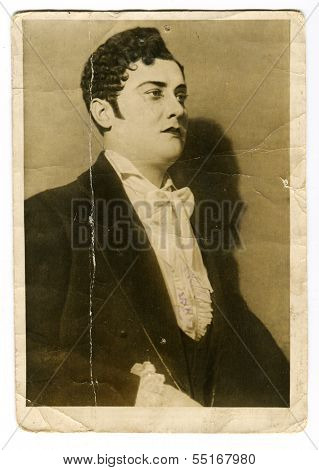 MOSCOW - CIRCA 1912: Actor A. N. Pokrovsky as Eugene Onegin, Moscow, Russia, USSR, 1912