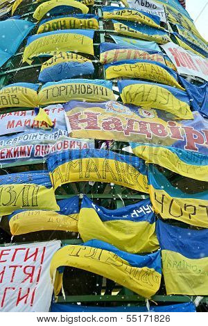 Kiev - Dec 06: Wall From Flags On Euro Maidan Meeting In Kiev On December 06, 2013.