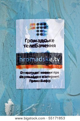 Kiev - Dec 06: Civil Tv Channel Poster On Euro Maidan Meeting In Kiev On December 06, 2013.