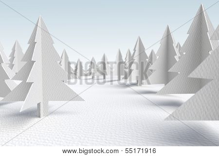 3d white cardboard evergreen forest