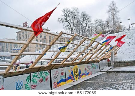 Kiev - Dec 06: Barricade On Euro Maidan Meeting In Kiev On December 06, 2013.