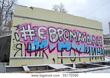 Kiev - Dec 06: Euromaidan As Text On Ukrainian Language On Euro Maidan Meeting In Kiev On December 0