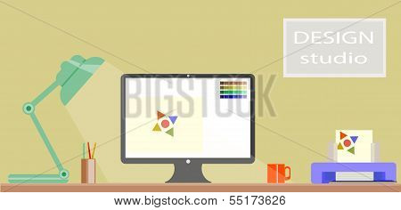 Flat Design of modern design studio Interior and desktop website design procesing with Computer scre