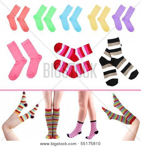 Collage of female legs in colorful socks and socks