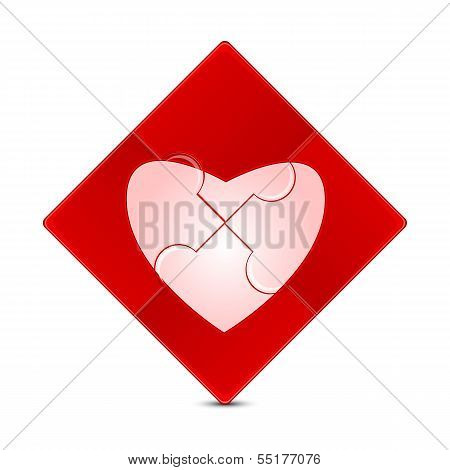 Puzzle With The Image Of A Pink Heart On A Red Background.illustration Of Valentine's Day.puzzle Gam