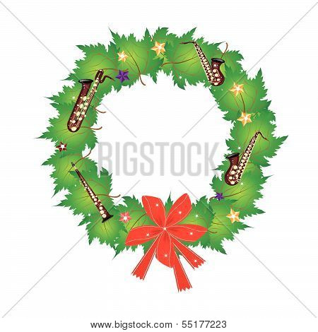 Christmas Wreath Of Green Maple Leaves And Red Bows