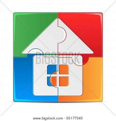 Colorful Puzzle With A Picture Of The House.colored Mosaic Isolated On White Background.vector