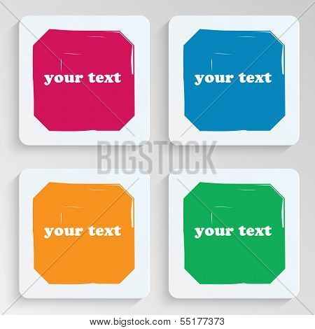 Set Of Sheets Of Paper With Bright Spots.collection Plates Notes.stickers For Posting Information.ve