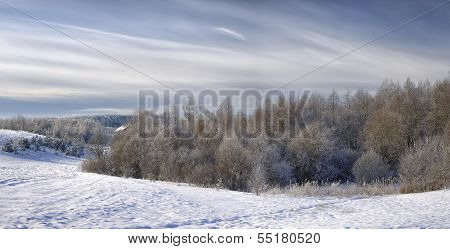 Beautiful Rural Landscape In Snow