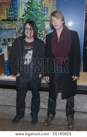 NEW YORK-DEC 4: John Rzeznik (R) and Robby Takac of the Goo Goo Dolls attend the 81st Annual Rockefeller Center Christmas Tree Lighting ceremony on December 4, 2013 in New York City.