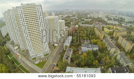 MOSCOW - SEP 30: (view from unmanned quadrocopter) Elk Island residential complex and old buildings, on Sep 30, 2013 in Moscow, Russia. Settling of residential complex began in II quarter of 2013.