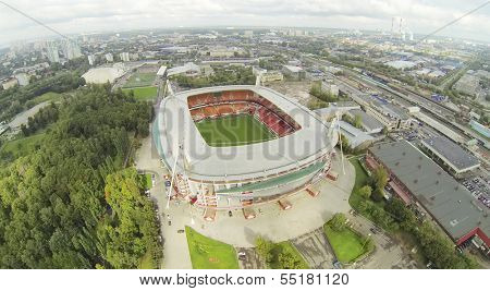 MOSCOW - SEPTEMBER 07: (view from unmanned quadrocopter) Locomotive Stadium in city, on September 07, 2013 in Moscow, Russia. Capacity of stadium is 28800 spectators.