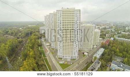 MOSCOW - SEP 30: (view from unmanned quadrocopter) Elk Island residential complex at cloudy day, on Sep 30, 2013 in Moscow, Russia. Settling of residential complex began in II quarter of 2013.