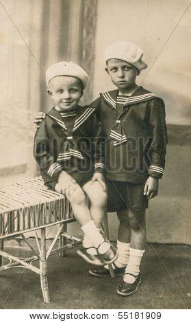 LUBLIN, POLAND, CIRCA 1920s - Vintage photo of two brothers in sailor outfits,  Lublin, Poland, circa 1920s
