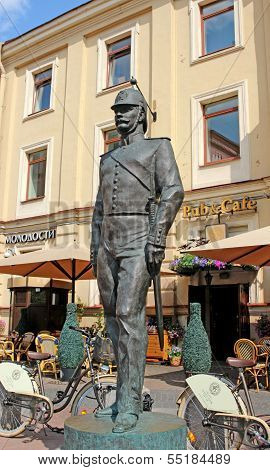 Bronze Monument To The Policeman In St. Petersburg (russia)