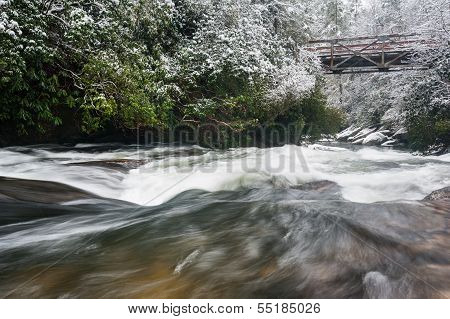 North Carolina Chattooga River Bridge Winter Scenic