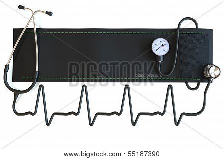 Blood pressure cuff with stethoscope