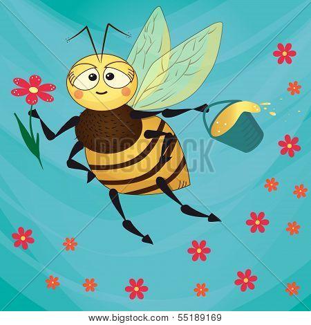 Cute bee flies.