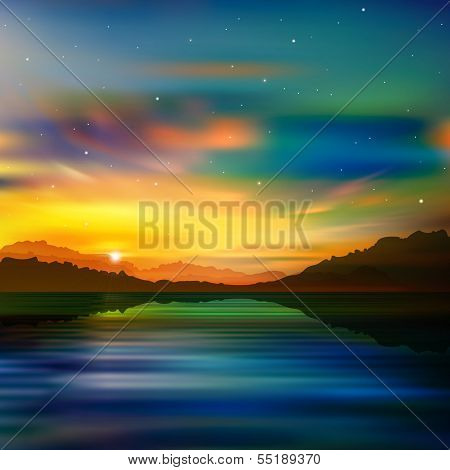 Abstract Nature Green Background With Gold Sunrise