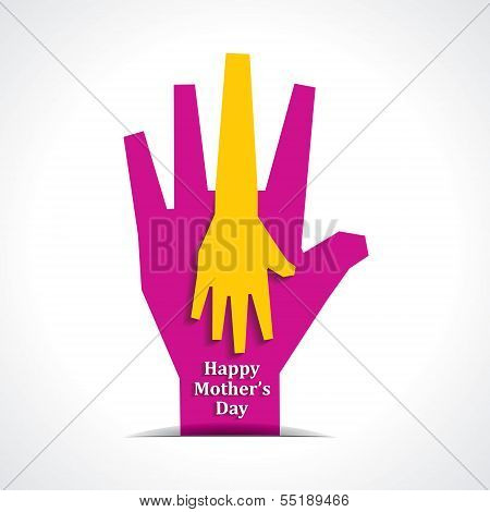 Happy mothers day with two hands of mother and child background