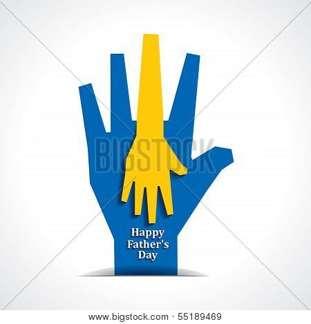 Happy fathers day with two hands of father and child background