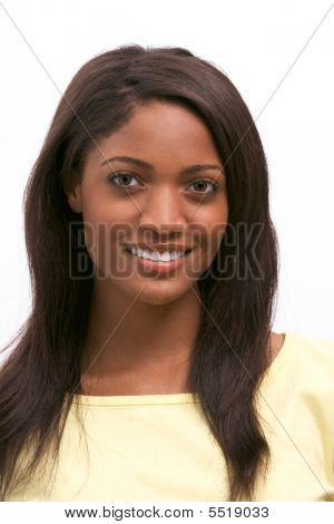 Young Ethnic Black African American Woman Smiling